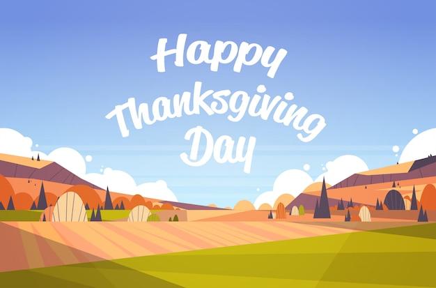 Happy thanksgiving grußkarte text schriftzug herbst herbst landschaft Premium Vektoren