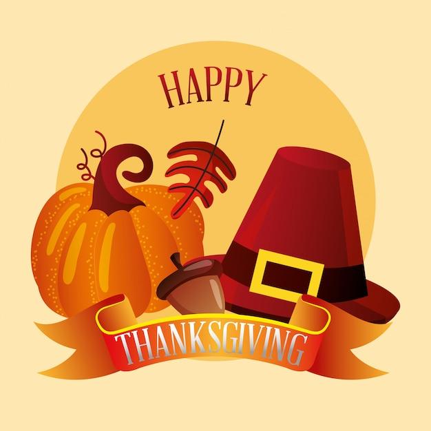 Happy thanksgiving-karte herbst elemente, thanskgiving-karte Premium Vektoren