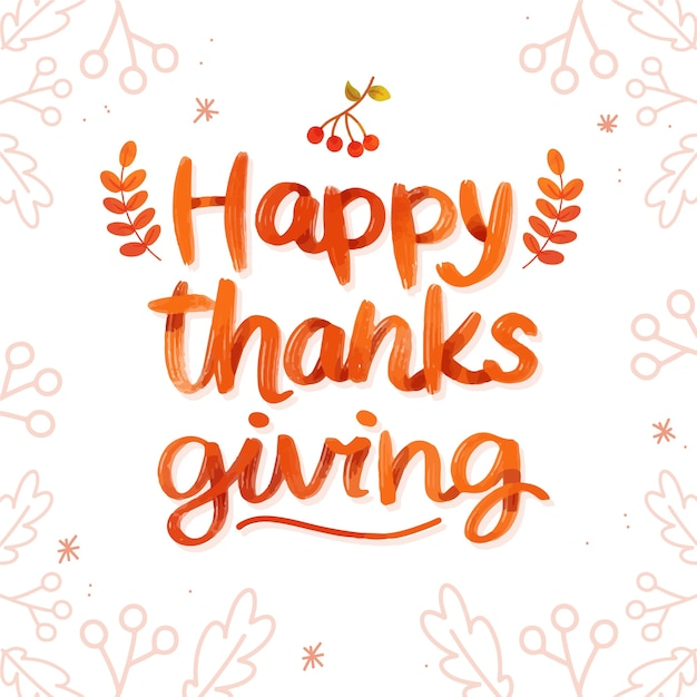 Happy thanksgiving-konzept mit schriftzug Kostenlosen Vektoren