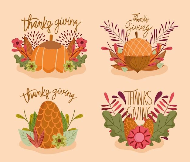 Happy thanksgiving, satz von buchstaben blume kürbis eichel tannenzapfen und herbstlaub Premium Vektoren