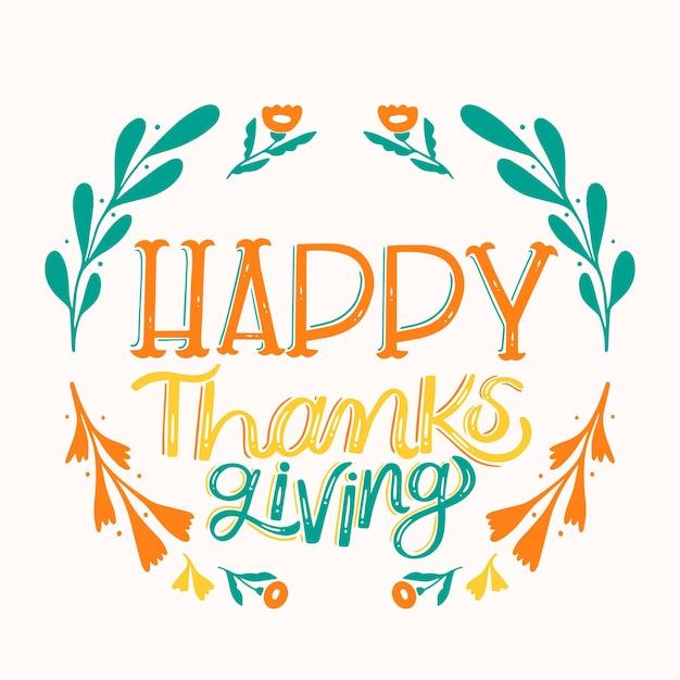 Happy thanksgiving-schriftstil Kostenlosen Vektoren