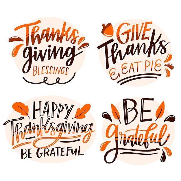 Happy thanksgiving schriftzug abzeichen gesetzt Kostenlosen Vektoren