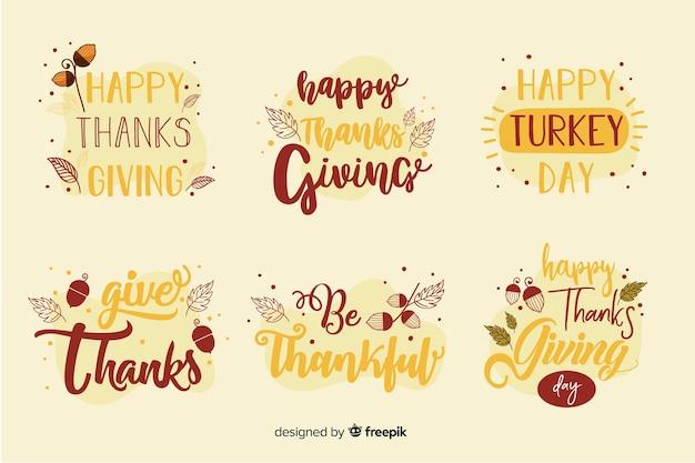 Happy thanksgiving schriftzug abzeichen sammlung Kostenlosen Vektoren