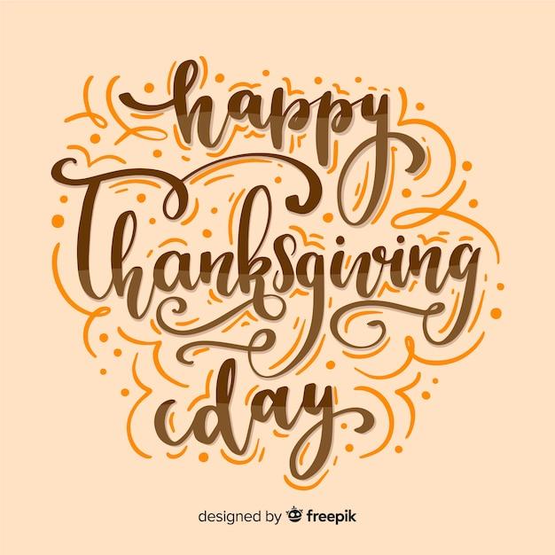 Happy thanksgiving schriftzug konzept Kostenlosen Vektoren