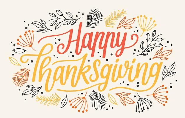 Happy thanksgiving schriftzug Premium Vektoren