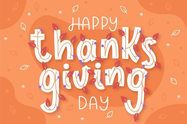 Happy thanksgiving schriftzug Kostenlosen Vektoren