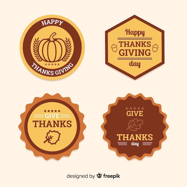 Happy thanksgiving tag abzeichen sammlung Kostenlosen Vektoren
