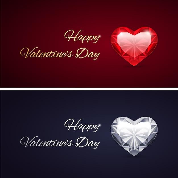 Happy valentines day cards mit edelsteinen Premium Vektoren