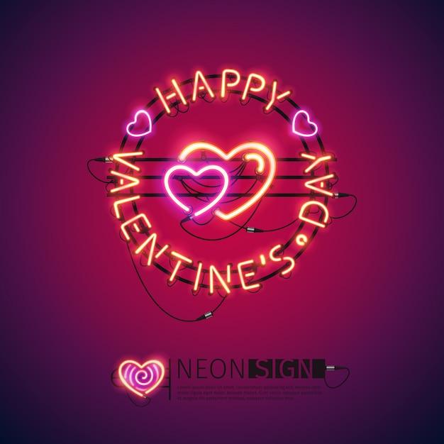 Happy valentines day leuchtreklame Premium Vektoren