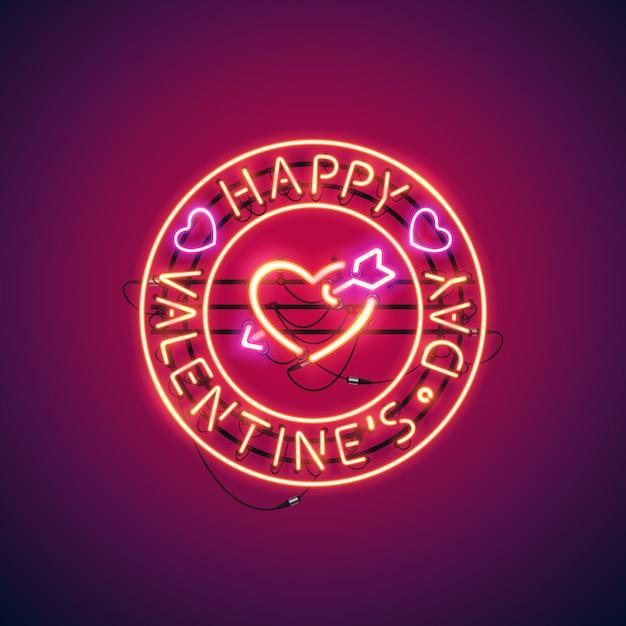 Happy valentines day mit arrowed heart neon sign Premium Vektoren