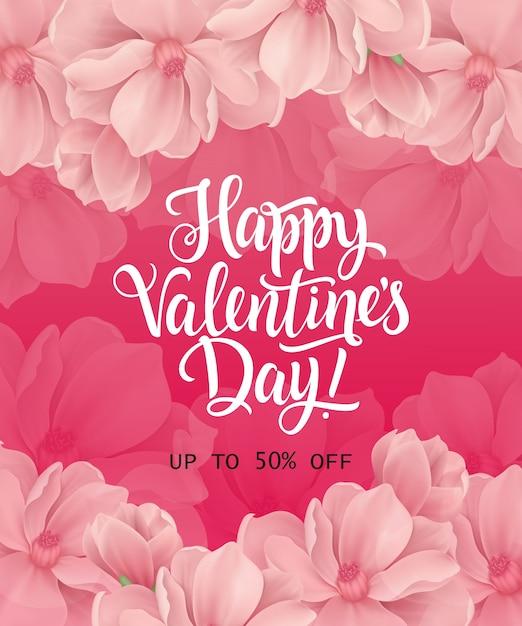 Happy valentines day romantische aufschrift Premium Vektoren