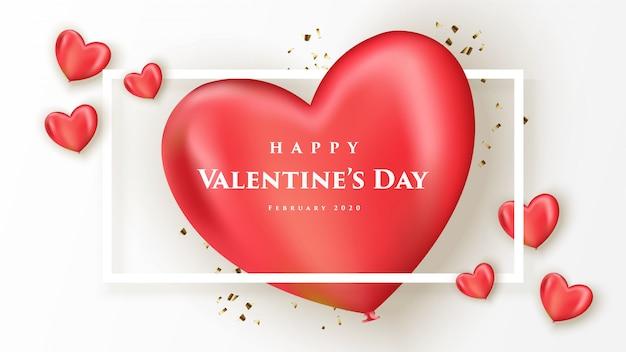 Happy valentinstag banner mit realistischen herzen Premium Vektoren