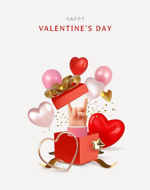 Happy valentinstag banner mockup stil liebe objekte illustration Premium Vektoren