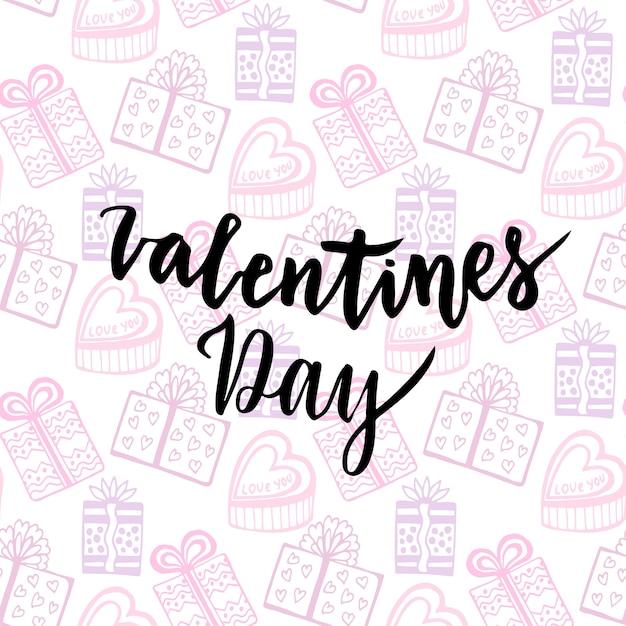 Happy Valentinstag-Karte. Handgeschriebenes Vektordesign. Geschenke ...