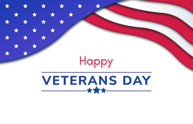 Happy veterans day papercut hintergrund Premium Vektoren