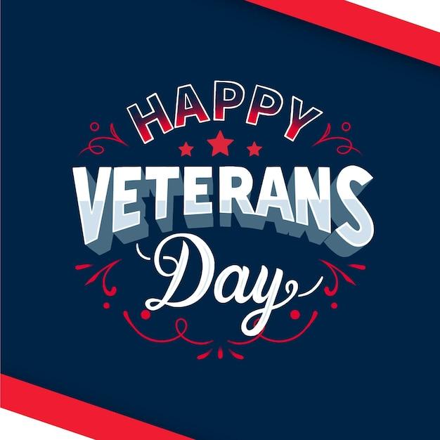 Happy veterans day schriftzug design Kostenlosen Vektoren