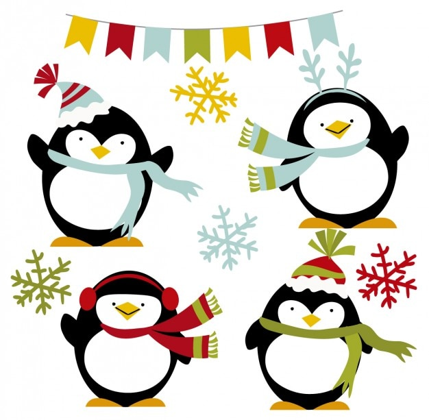 Happy winter pinguine Kostenlosen Vektoren
