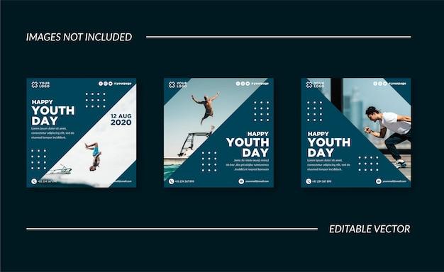 Happy youth day social media post Premium Vektoren