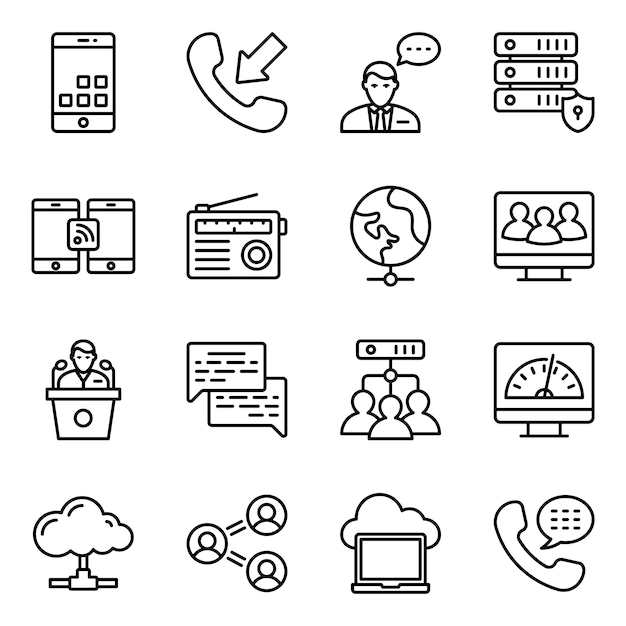 Hardware-netzwerke line icons pack Premium Vektoren