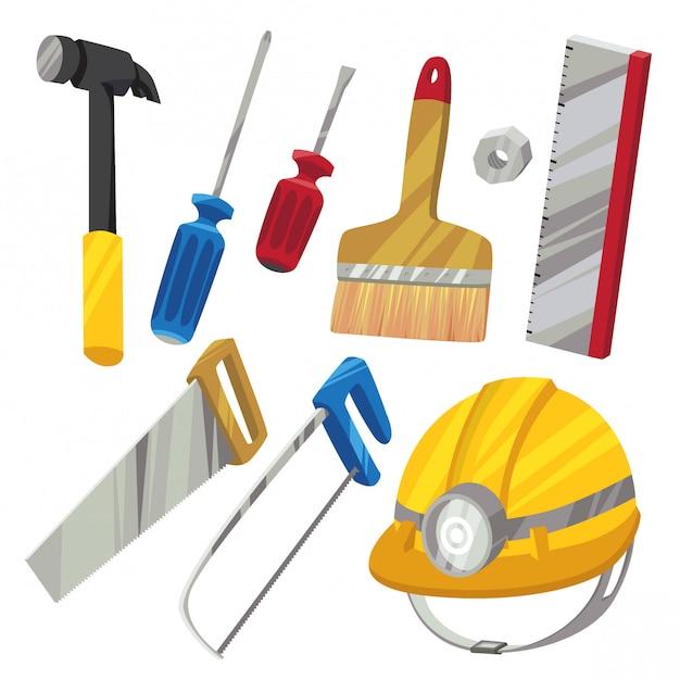 Hardwarewerkzeuge eingestellt in karikaturart b Premium Vektoren