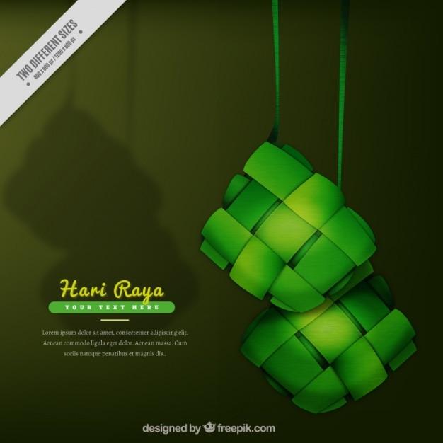 Hari raya hintergrund in den grünen tönen Kostenlosen Vektoren