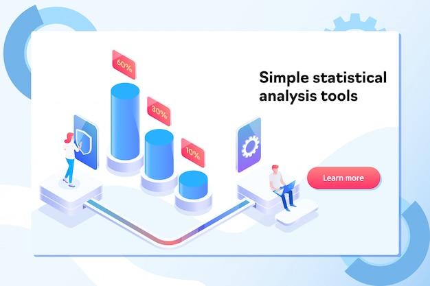 Сharts und analyse des statistikdatenvisualisierungskonzeptes Premium Vektoren