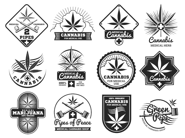 Haschisch-, rastaman-, hanf-, hanf-, marihuana-vektorlogos und kennsatzfamilie Premium Vektoren