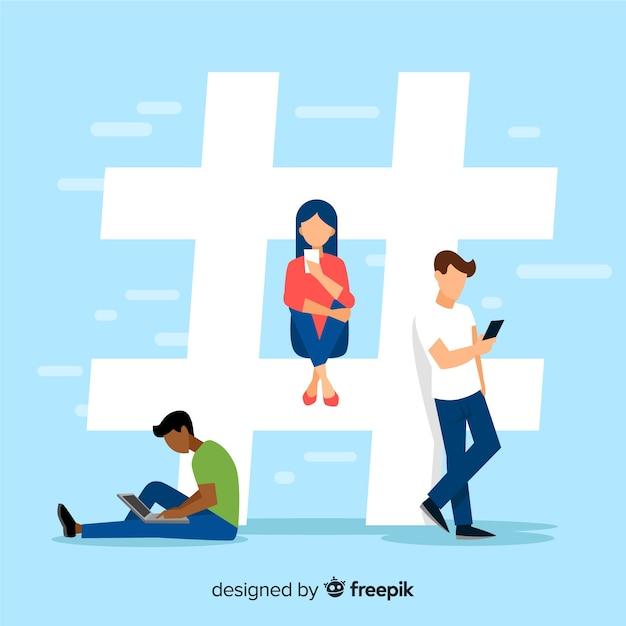 Hashtag-konzepthintergrund der jungen leute Kostenlosen Vektoren