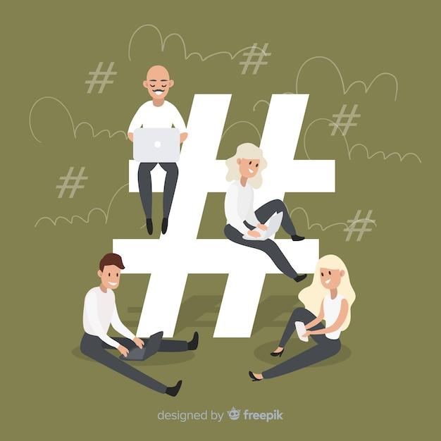 Hashtag-symbolhintergrund der jungen leute Kostenlosen Vektoren