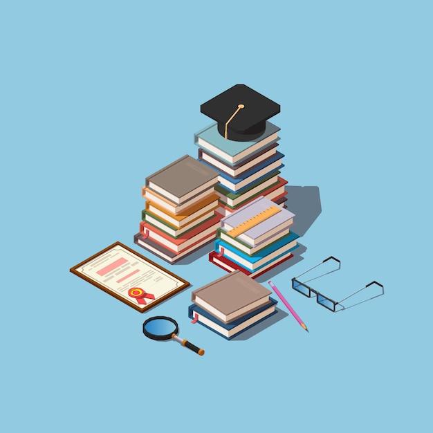 Haufen bücher mit quadratischer akademischer kappe und diplom Premium Vektoren