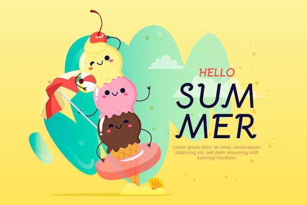 Haufen des gezeichneten sommerhintergrunds der glücklichen eishandhand Kostenlosen Vektoren