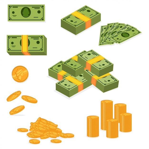 Haufen geld und haufen bargeld. Premium Vektoren
