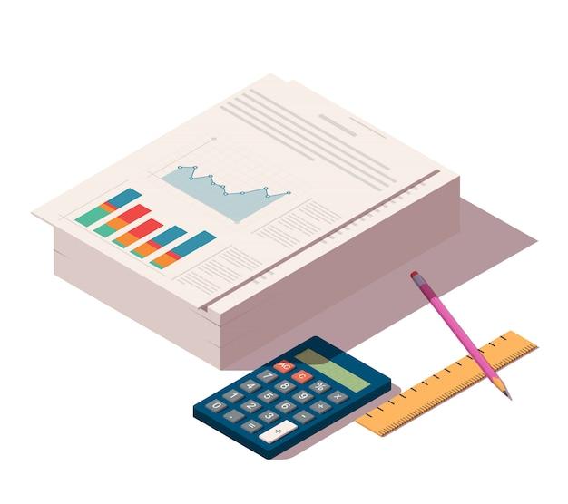 Haufen von dokumenten mit bleistift, lineal und taschenrechner Premium Vektoren