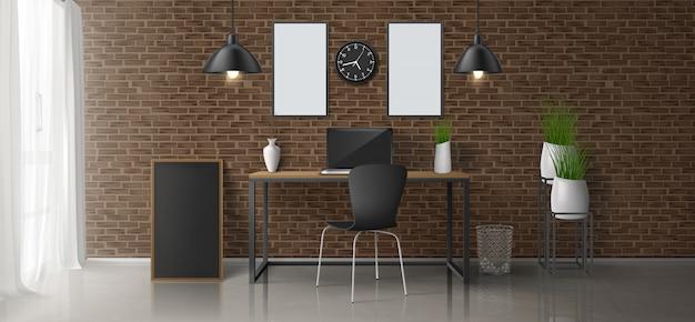 Hauptarbeitsplatz, minimalistic design des realistischen vektors des büroraumes 3d oder dachbodenartinnenraum mit laptop auf arbeitsschreibtisch, leere malereien, fotorahmen auf backsteinmauer, hängende lampen, blumentopfillustration Kostenlosen Vektoren