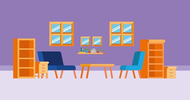 Hauptarbeitszimmer mit büchern Kostenlosen Vektoren