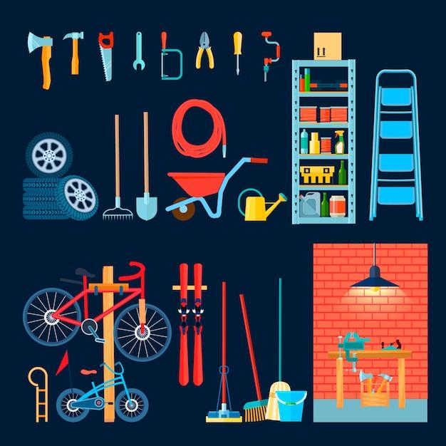 Hauptgaragenlagerhaus-innenraumzusammensetzung mit verschiedenen manuellen werkzeugen und ausrüstung Kostenlosen Vektoren