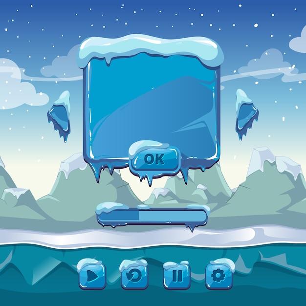 Hauptmenü des winterspiels. schnittstelle cartoon gui, eis und kälte, app-taste, vektor-illustration Kostenlosen Vektoren