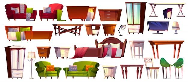 Hauptmöbel der gesetzten innenillustration des schlafzimmers und des wohnzimmers. Kostenlosen Vektoren