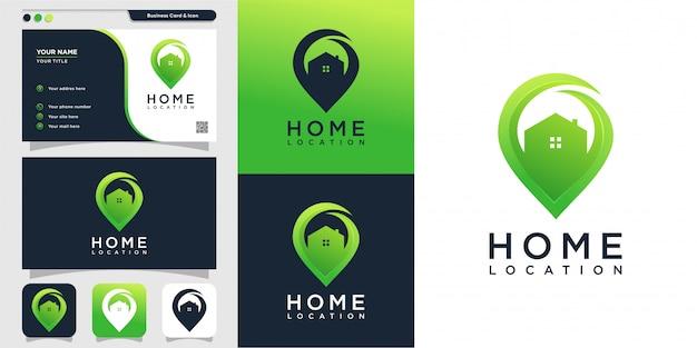 Hauptstandort mit modernem stillogo und visitenkartenentwurfsschablone, symbol, ort, karte, modern, haus, haus Premium Vektoren