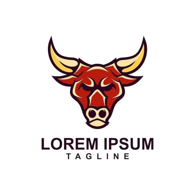 Hauptstier-maskottchen-logo-schablone Premium Vektoren