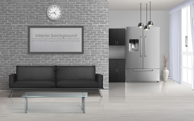 Hauptwohnzimmer, geräumiger innenraum der studioküche im minimalismus Kostenlosen Vektoren