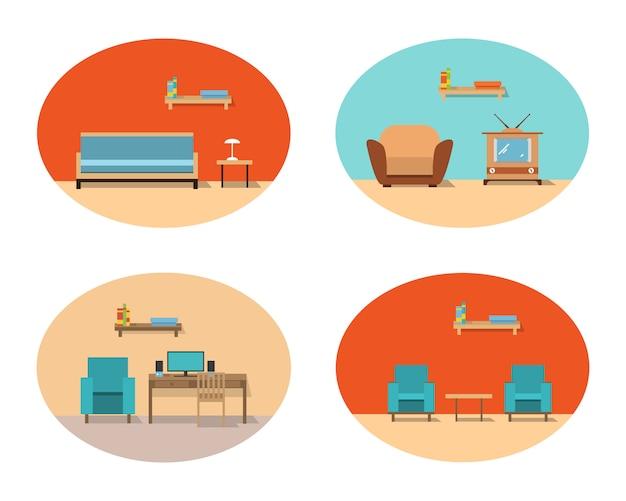Hauptwohnzimmerinnenraum mit einem sofa und lehnsesseln und einem fernsehapparat und einer studie mit einem schreibtisch und einem computer. Premium Vektoren