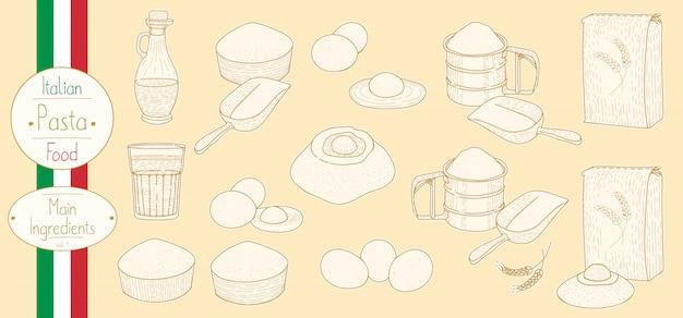 Hauptzutaten für das kochen italienischer pasta Premium Vektoren