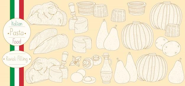 Hauptzutaten für gefüllte nudelfüllung zum kochen italienischer ravioli Premium Vektoren