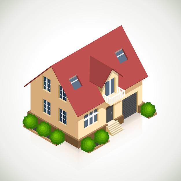 Haus 3d vektorikone mit grünen büschen. architekturhaus, struktur und fenster Kostenlosen Vektoren