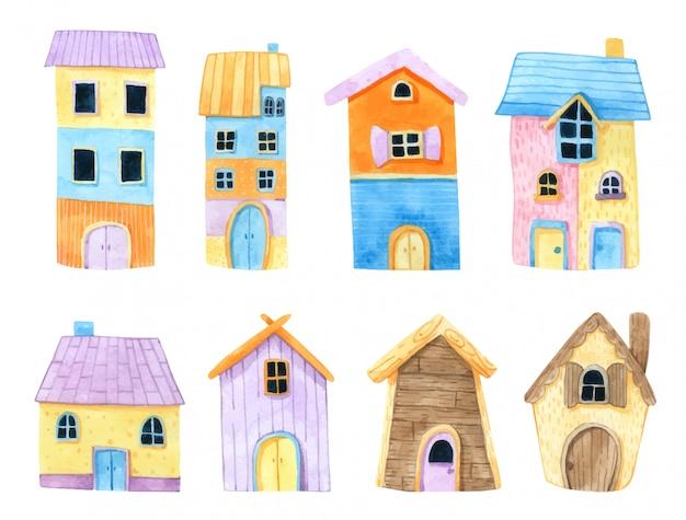 Haus aquarell aquarell Premium Vektoren