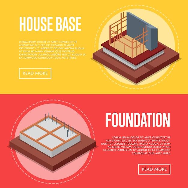 Haus base bau banner web-set Premium Vektoren