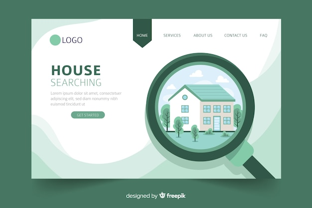 Haus, das konzept nach landing page sucht Kostenlosen Vektoren
