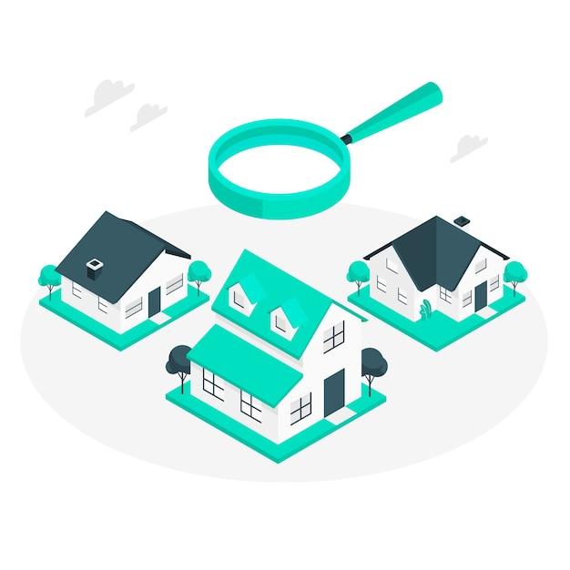 Haus, das konzeptillustration sucht Kostenlosen Vektoren