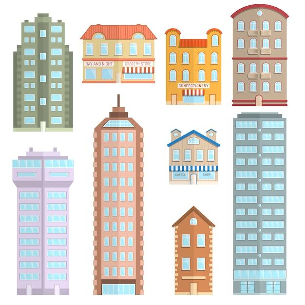 Haus icons flat set Kostenlosen Vektoren